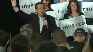 Ted Cruz hosted a rally in Irvine on April 11, 2016. (Credit: KTLA)