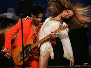 Musician Prince performs during the Super Bowl XLI Half-Time at the Miami Convention Center on February 1, 2007 in Miami, Florida. (Credit: Evan Agostini/Getty Images)