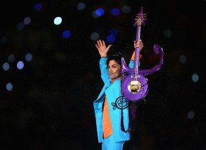 "Prince performs during the ""Pepsi Halftime Show"" at Super Bowl XLI between the Indianapolis Colts and the Chicago Bears on Feb. 4, 2007, at Dolphin Stadium in Miami Gardens, Florida. (Credit: Jonathan Daniel/Getty Images)"