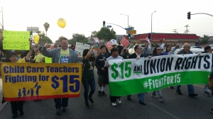 Protesters call for a $15 minimum wage in South L.A. on April 14, 2016, when actions were taking place nationwide. (Credit: KTLA)