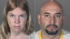 Jacqueline Wadsworth, 32, and Francisco Avendano, 42, are seen in booking photos. (Credit: Los Angeles County Sheriff's Department)