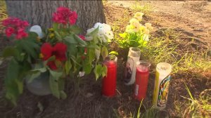 A small memorial was set up in memory of Martiros Arutyunyan on April 18, 2016 in Glendale. (Credit: KTLA)