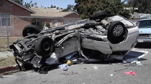Nine people were injured in a rollover crash involving two vehicles in North Hills on April 17, 2016. (Credit: First In)