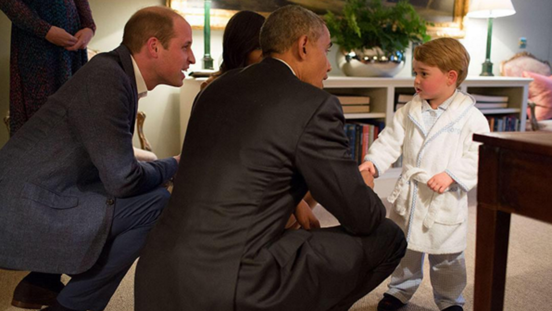 Kensington Palace posted this photo of Prince George meeting President Barack Obama on April 22, 2016.
