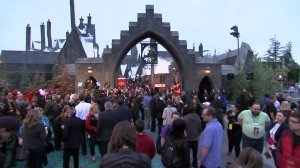 """""""The Wizarding World of Harry Potter"""" at Universal Studios Hollywood opens its gates on April 7, 2016. (Credit: KTLA)"""