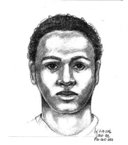 A sketch of one of two men sought in the home-invasion sexual assault of a Riverside homeowner was released by the Riverside Police Department on April 20, 2016.