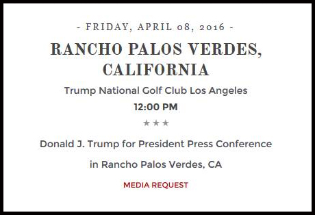 Donald Trump's website displayed this announcement about an event in Rancho Palos Verdes that was later canceled.