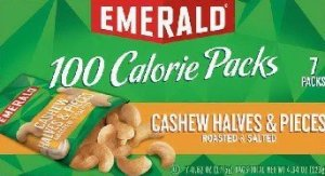 "Emerald brand 100-calorie packages of roasted and salted cashew halves and pieces are being recalled ""due to the possible presence of small glass pieces."" (Credit: From FDA)"