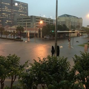 Streets are shown flooding near the Galleria shopping center in Houston on April 18, 2016. (Credit:Streets flooding near the Galleria shopping center in Houston, Texas (Credit: Jessica Free via CNN Wire)