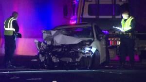 A mangled vehicle ins seen after a three-vehicle crash in Sherman Oaks on April 10, 2016. (Credit: KTLA)