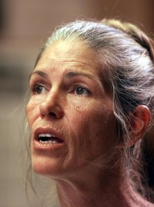 Leslie Van Houten, a former follower of Charles Manson, during a parole hearing in 2002. (Credit: Damian Dovarganes/AFP/Getty Images)
