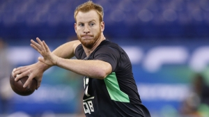 Quarterback Carson Wentz of North Dakota State throws during the 2016 NFL Scouting Combine at Lucas Oil Stadium on February 27, 2016 in Indianapolis, Indiana. (Credit: Joe Robbins/Getty Images)