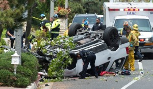 Authorities respond to a crash in the 8400 block of Viaverde Drive in Whittier on April 26, 2016. (Credit: Keith Durflinger/Whittier Daily News)