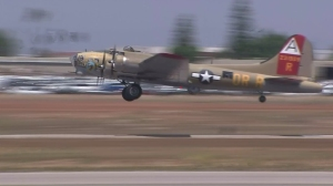 The B-17 bomber in which Lou Tirado took a flight is seen on May 4, 2016. (Credit: KTLA)