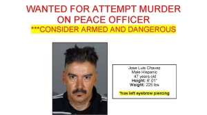 Los Angeles County Sheriff's officials released this photo of Jose Luis Chavez on May 21, 2016. Chavez is wanted for allegedly shooting a West Covina police officer.