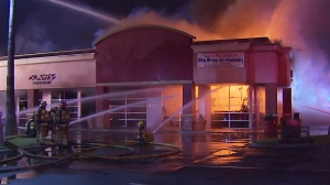 A fire burned through the Claws Restaurant in Garden Grove on May 4, 2016. (Credit: KTLA)