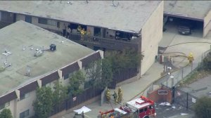 A woman's body was found in an apartment fire in Lomita Tuesday morning. (Credit: KTLA)
