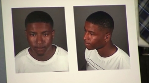 Tyrone Foster Jr. is shown in images displayed by LAPD at a news conference on May 9, 2016. (Credit: KTLA)