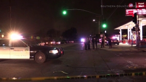 Two men were fatally shot inside a car as they pulled out of a gas station in Compton on May 15, 2016, authorities said. (Credit: Southern Counties News)