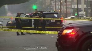 An off-duty police officer was involved in a shooting in Hollywood on May 4, 2016. (Credit: KTLA)