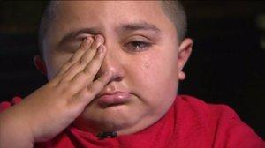 Juan Hernandez tears up as he talks about his missing dog on May 3, 2016. (Credit: KTLA)