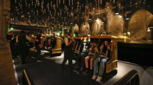 Candlesticks float and hover above the riders aboard Harry Potter and the Forbidden Journey in the Wizarding World of Harry Potter at Universal Studios Hollywood. (Credit: Mark Boster/Los Angeles Times)