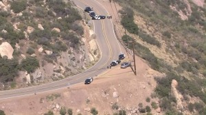 Deputies respond to a report of a gunshot victim on Piuma Road in Malibu on May 17, 2016. (Credit: KTLA)