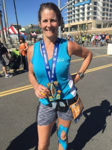 Maria Korcsmaros appears in a photo on her Facebook page from May 30, 2016. The 52-year-old Corona personal trainer was bitten by a shark off Corona Del Mar Beach Monday.