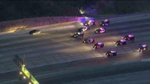 The pursuit driver refused to exit the car after leading authorities from Compton to Anaheim Hills on May 5, 2016. (Credit: KTLA)