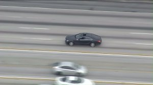 A driver wanted on suspicion of attempted murder led authorities on a pursuit that stated in Compton on May 5, 2016. (Credit: KTLA)