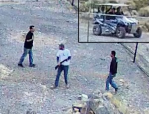 The National Park Service posted this photo on May 6 showing three men suspected of vandalism at Death Valley National Park on April 30.