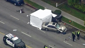 A bicyclist died after being struck by a car in Panorama City on May 19, 2016. (Credit: KTLA)