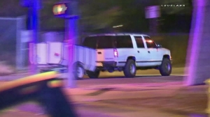A pursuit involving a truck and trailer began in San Bernardino on May 20, 2016. (Credit: Loudlabs)
