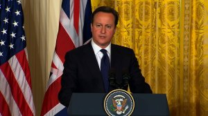 """British Prime Minister David Cameron, who at one point called Trump's proposed ban on Muslim foreigners entering the United States """"divisive, stupid and wrong,"""" said Thursday at a press conference with Japanese Prime Minister Shinzo Abe that Trump """"deserves our respect"""" for making it through the primaries. (Credit: CNN)"""