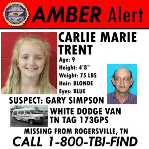 Authorities are searching for a 9-year-old girl taken from school by an uncle with no custodial rights, according to a news release from the Tennessee Bureau of Investigation. (Credit: Rogersville Police Department)