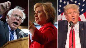 Bernie Sanders at a campaign rally in Salem, Oregon, on May 10, 2016; Hillary Clinton at a campaign stop in Louisville, Kentucky, on May 15, 2016; and Donald Trump speak in Eugene, Oregon on May 6, 2016. (Credit: Getty Images; left to right: ROB KERR/AFP; John Sommers II; ROB KERR/AFP)