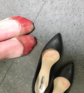 Nicola Gavins posted this photo of her friend's feet after a restaurant training session on Facebook on May 3, 2016.