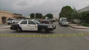 One man was in custody after an employee was fatally shot outside a South El Monte business on May 9, 2016. (Credit: KTLA)