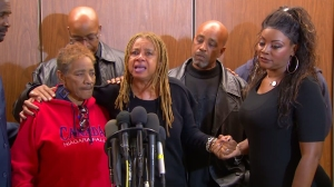 """Margaret Prescod, founder of the Black Coalition Fighting Back Serial Murders, speaks after the verdict is announced in the """"Grim Sleeper"""" case on May 5, 2016. (Credit: KTLA)"""
