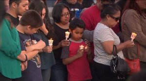 Dozens of relatives, family friends and classmates gathered to mourn Angel Zevallos, 9, in Simi Valley on May 27, 2016. (Credit: KTLA)