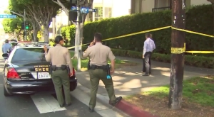 Authorities investigate a homicide in West Hollywood on May 26, 2016. (Credit: KTLA)