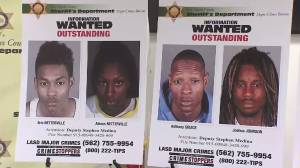 Four people still being sought in connection with a prolific burglary crew are shown in images displayed at a news conference on June 9, 2016. (Credit: KTLA)