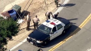 Aerial video from Sky 5 shows a man being arrested in Hacienda Heights after allegedly leading sheriff's officials on a chase and foot pursuit on June 3, 2016.