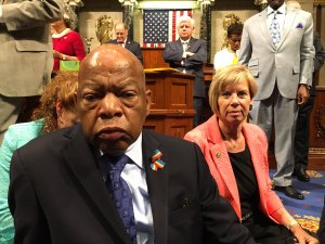 Democrats staged a sit-in on the House floor over gun control starting on June 22, 2016, and lasting until the following day. (Credit: CNN)