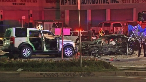 One person was killed in a multi-vehicle crash in the Mid-Wilshire neighborhood of Los Angeles Monday morning. (Credit: KTLA)
