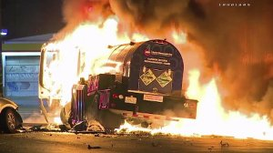A tanker truck catches fire following a crash in downtown Los Angeles on June 20, 2016. (Credit: Loudlabs)