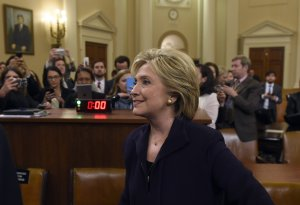 Former Secretary of State and Democratic Presidential hopeful Hillary Clinton leaves after she testified before the House Select Committee on Benghazi on Capitol Hill in Washington, D.C., Oct. 22, 2015. (Credit: SAUL LOEB/AFP/Getty Images)