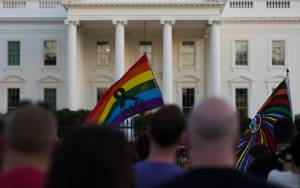 People hold a vigil in front of the White House in Washington, D.C., on June 12, 2016, in reaction to the mass shooting at a gay nightclub in Orlando, Florida. (Credit: Andrew Caballero-Reynolds/AFP/Getty Images)
