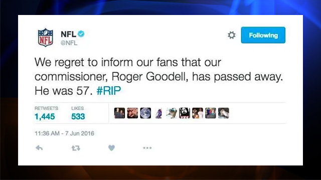 A tweet posted to the NFL's Twitter account is seen after it was apparently hacked on June 7, 2016.