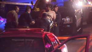 A man was taken into custody following a reported hammer attack in the East Los Angeles area on June 1, 2016. (Credit: KTLA)